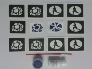 Scotland rugby glitter tattoo set including 30 stencils + blue glitter + glue   Scottish  children  boys  girls 6 Nations  World Cup 2015